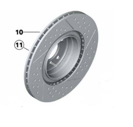 BMW M Performance Bremsscheibe belüftet angelocht hinten HA (345X24 mm) kleine Radlagerung