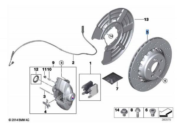 BMW Bremsscheiben HA (370x24mm) Satz gelocht M2 F87 M3 F80 M4 F82 F83-Copy