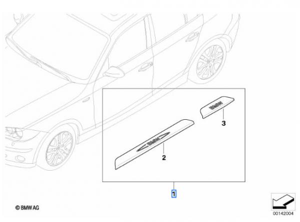BMW Nachrüstsatz Einstiegsleisten Edelstahl 4-teilig 1er E87 / E87 LCI